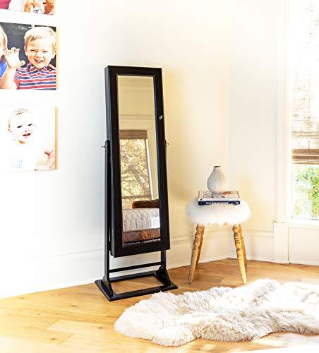 Alveare Home Trista Standing Mirror With Jewelry Storage, Espresso