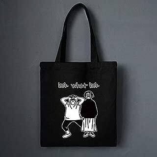 Gimax Shoulder Bags - Canvas Beach Bag Cartoon Printed Shopping Bags Female Handbag Women Cat Totes Black Girls Casual Beach Shoulder Bags - (Color: Black)