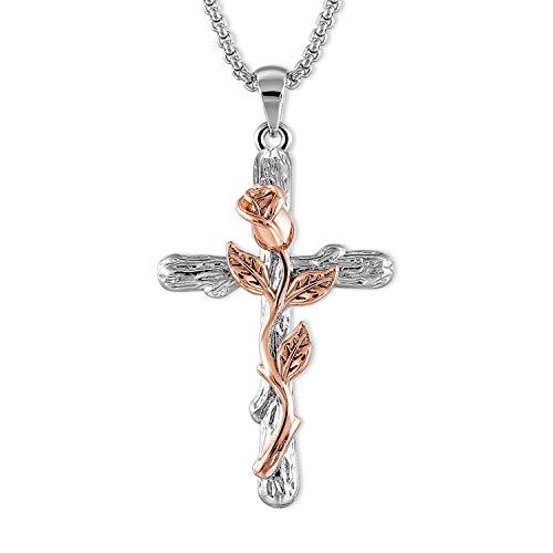 SNZM Collar de cruz chapado en oro rosa para mujer Flor colgante colla