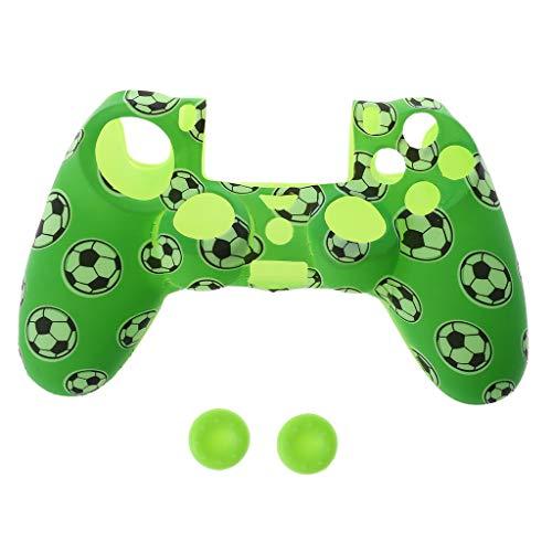 Junlinto, voetbal patroon siliconen Gamepad Cover Case + 2 Joystick Cap voor PS4 Controller