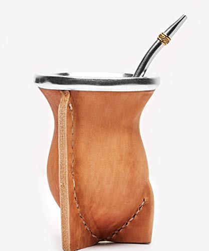 BALIBETOV Mate natürlicher handgefertigter Kürbis (Mate Becher) in Leder gefüttert - mit Bombilla (Sorbet) für Matein (BEIGE)