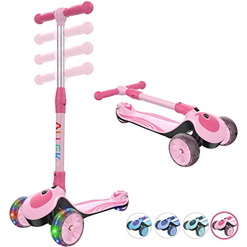 New Allek F01 Folding Kick Scooter for Kids, 3-Wheel LED Flashing Glider Push Scooter with Height Ad...