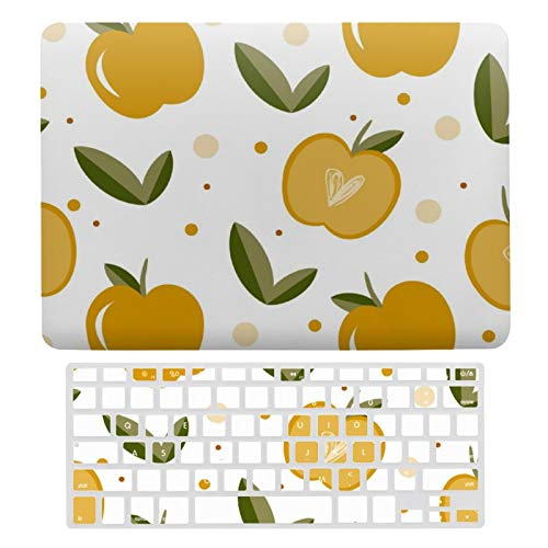 For MacBook Air 13 13 Inch Case A1466、A1369 Hard Shell Cover for MacBook Air 13 Case & Keyboard Cover, Cute Sweet Apples With Hearts In Mustard Color Laptop Protective Shell Set
