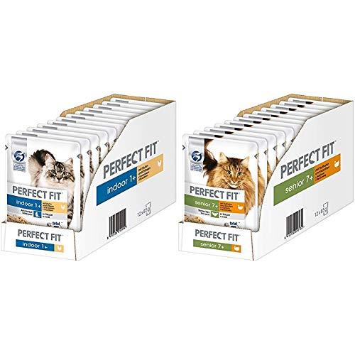 Indoor 1+ – Nassfutter für Erwachsene Hauskatzen ab 1 Jahr – Huhn und Erbsen in Sauce – 12 x 85 g & Katzenfutter Nassfutter Senior 7+ mit Truthahn & Karotten in Sauce, 12 Portionsbeutel