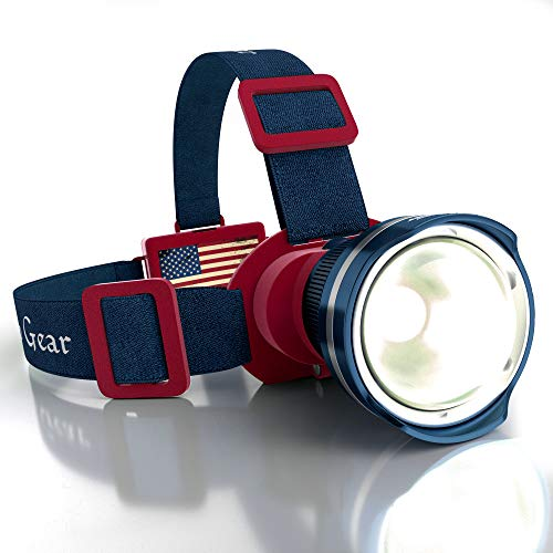 Outdoor Pro Gear Patriotic American Flag Super Bright LED Headlamp Flashlight- Brightest Spotlight Headlight (Blue-Red)