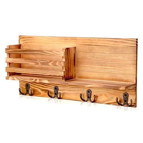 AXABING Schlüsselbrett Mit Ablage, Holz Briefhalter, Wand Aufbewahrungsbox mit 4 Schlüsselhaken, Schlüsselbrett Vintage mit Holzregal