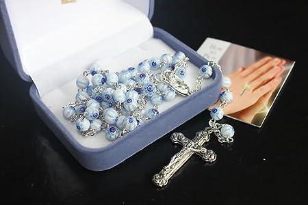 Azul claro rosario de cristal MURANO rosarios BNIB 6 mm cuentas
