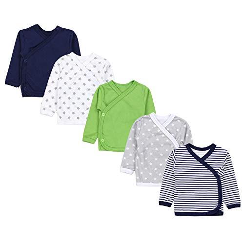 TupTam Baby Jungen Langarm Wickelshirt Baumwolle 5er Set, Farbe: Mehrfarbig 9, Größe: 74