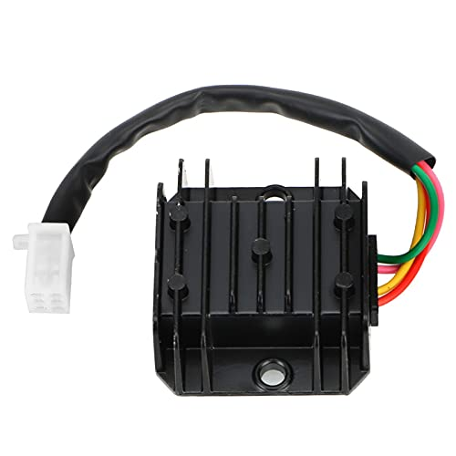 SPFCJL Regulador de Voltaje Universal RECTIFICADOR DE Corriente Estabilizador de Voltaje de Motocicleta 4 Cables 4 Pines 12V para Scooter ATV 150-250CC (Color : Black)