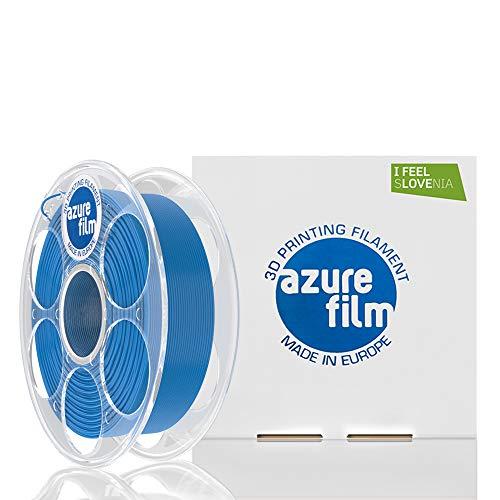 AZUREFILM 3D Filamento PLA per stampa 3D professionale 1,75 mm - Accessori di stampa 3D indispensabili - Precisione dimensionale elevata +/- 0,02 mm, Bobina 1 kg, Blu - Senza bolle o inceppamenti