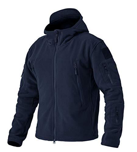 EKLENTSON Herren Winddichte Jacke Windbreaker Fleecejacke Winter mit Kapuze und Multi-Taschen Dunkel Blau, XL