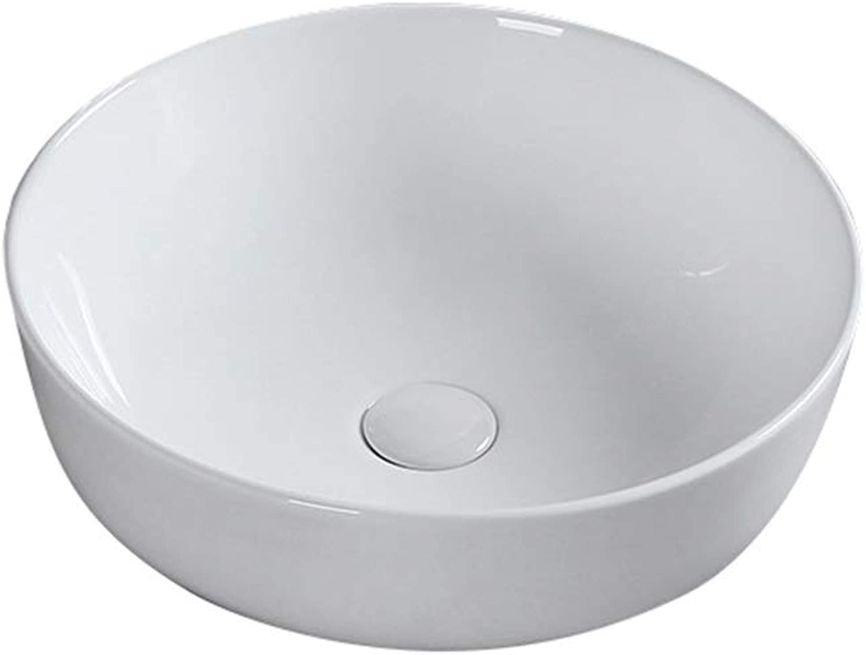 Above Counter Wash Basin, Ceramics, White Round Simple Bathroom Sink