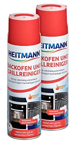 Heitmann Backofen- und Grillreiniger: löst hartnäckigen Schmutz, ideal für Backöfen, Back- und Auffangbleche, Grills, Roste, Herdplatten, Töpfe, Pfannen, für die Warm- und Kaltreinigung, 2 x 500g