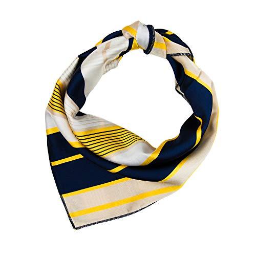 RdChicLog Damen Halstücher Streifen Stewardess Schal Quadratisch (Gelb Weiß)