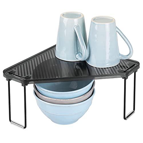 mDesign Estante de cocina – Soporte para platos para encimera o interiores de armarios – Organizador de armarios de cocina individual y apilable – negro y gris