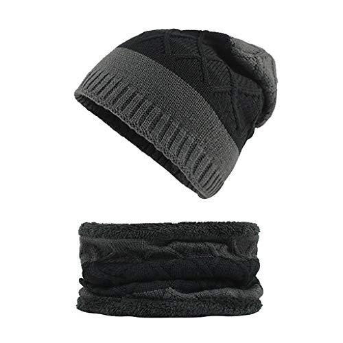 SHINEHUA comfortabele 2 stuks wintermuts sjaal set wol warme gebreide muts dikke fleece voering wintermuts sjaal voor dames en heren