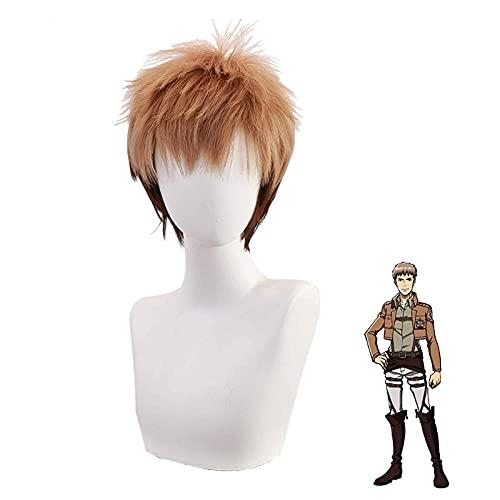 Peluca Altamente restaurada Cosnoble Jean Kirstein Wig Anime Attack en Titan Cosplay Cabello castaño Corto Vale la pena Comprar por los entusiastas