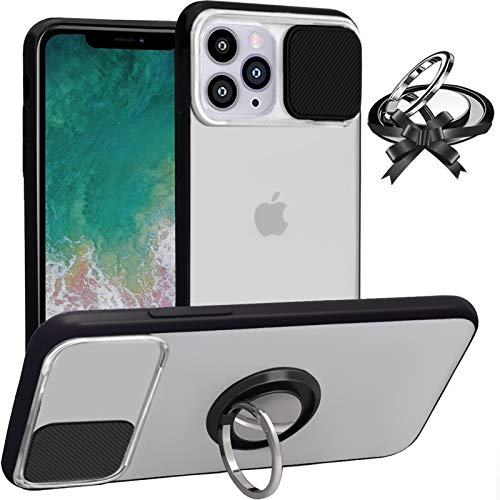 Case for iPhone 11 Pro Max, Camera Protection, Slide Cover Camera Lens Protector Matte Translucent & Soft Edges with Rotation Ring Kickstand [Support Magnetic Car Mount] Anti-Scratch Anti-Fingerprint