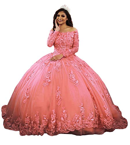 Ai Maria Women's Lace Appliques Quinceanera Dress Long Sleeves Ball Gown