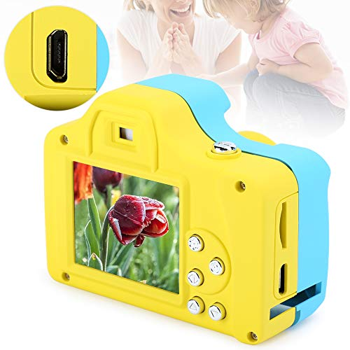 Cámara de Video para niños, HD SLR para niños, Ligera Digital para Regalos para niños Videocámara de Video Regalos electrónicos Cámara de Juguete para niños(Blue Yellow, Pisa Leaning Tower Type)