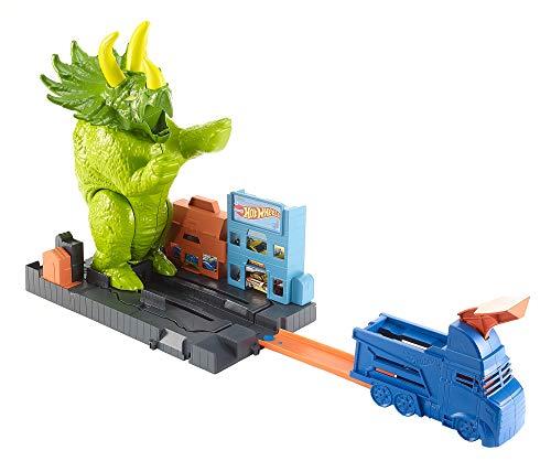 Hot Wheels City Coffret Attaque du tricératops, coffret de jeu pour petites voitures avec circuit et pistes, jouet pour enfant, GBF97