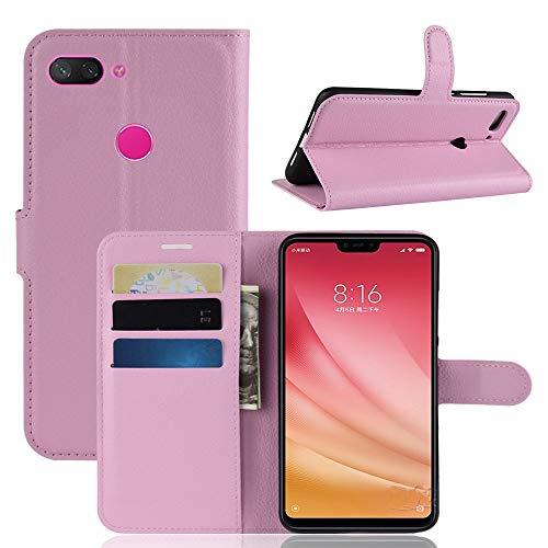 Capa Capinha Carteira Flip Wallet Case 360 Xiaomi Mi 8 Lite De Tela 6.26Couro Sintético Mi8 Lite Pronta Entrega (Rosa Claro)