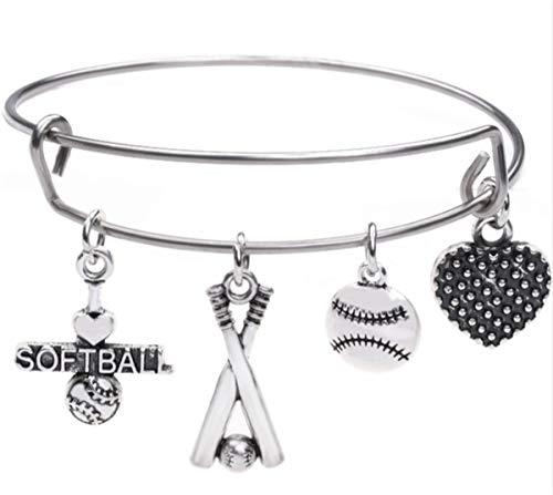 Likgreat Football baseball softball ciondoli in acciaio INOX braccialetto di filo per donne ragazze e Acciaio inossidabile