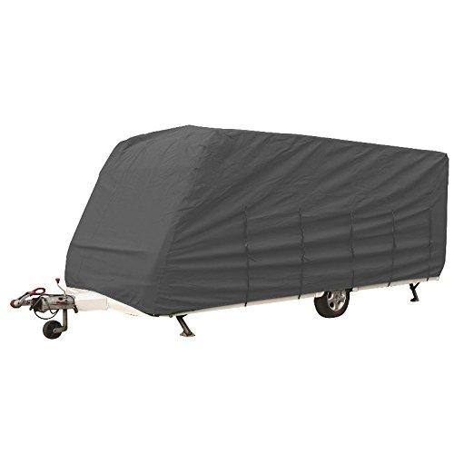 hochwertige Wohnwagen Abdeckplane Schutzhülle Caravanplane | 7,5-8,0m | atmungsaktive Dreischichten-Schutz-Plane | (Typ 2: Caravan - grau - (750-800*250))