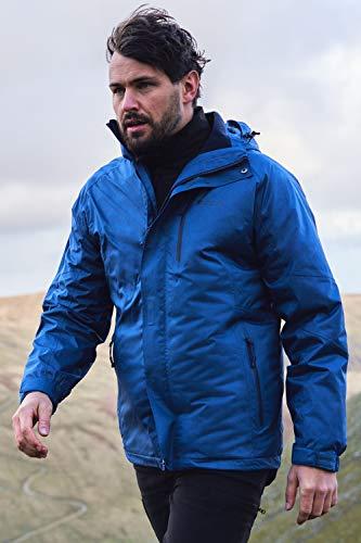 Mountain Warehouse Veste imperméable 3 en 1 Climb Extreme pour Homme - Coutures étanches - Haut avec intérieur en Softshell détachable - Confortable, Hiver Bleu Cobalt L