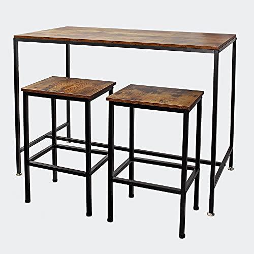 Mesa alta de bar con 2 taburetes Vintage 120x60x90cm, armazón estable de metal, fácil montaje