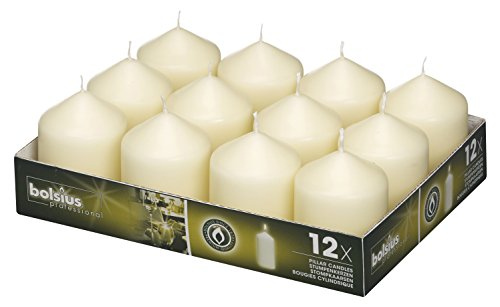 BOLSIUS Ivory Pillar Candles - 12 Pack -16 Long Burning Hours Candle Set - 3-inch x 2.5-inch Dripless Candle - Perfect for Wedding Candles, Parties and Special Occasions