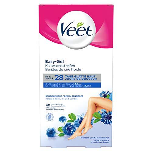 Veet Kaltwachsstreifen mit Easy-Gelwax Technology – Geeignet für sensible Haut – Anwendung für Beine & Körper – Bis zu 4 Wochen glatte Haut – 20 x Doppelstreifen à 40 Anwendungen