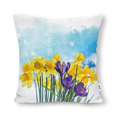 DKISEE Watercolor Daffodils Throw Pillow Cover, Cotton Canvas Decorative Square Pillow Case, Novelty Modern Pillow Cushion Waist Cover for Sofa Bed, 16x16 Inch, SDS289