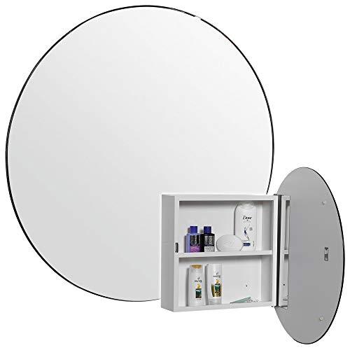 URBNLIVING Weißer runder Badezimmer-Spiegelschrank mit 1 Einlegeboden / moderner Look / Toilettenschrank / 33 x 33 x 10 cm