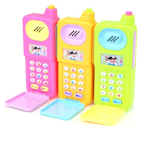 Shanaya Funny Flip Mobile Phone for Kids, Early Education Toys with Music and Light (Assorted Colors)