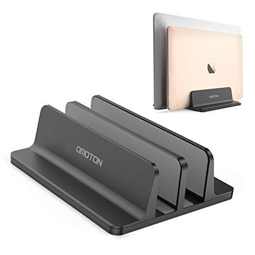 OMOTON Vertical Laptop Stand, [Adjustable Macbook Stand] Upgraded Double Space Desktop Holder Stand for MacBooks, Laptops, Aluminum,Black