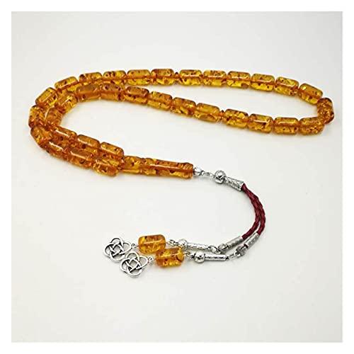 COKILU Ambers Color Resin Tasbih Rosario musulmán Rosario Popular Tasseles de Metal Regalo de Lujo para Eid Padre Presente Pulseras de Hombres Muslim Hombre Brazalete Pulsera