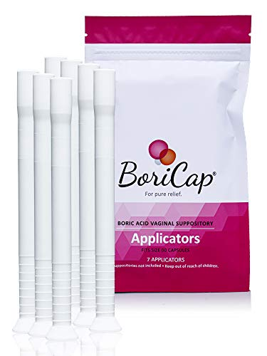 BoriCap Suppository Applicator Fits Size 00 Capsules, Reusable, Easy to Insert and Clean, Boric Acid Suppositories Not Included, Pack of 7 Plastic Applicators