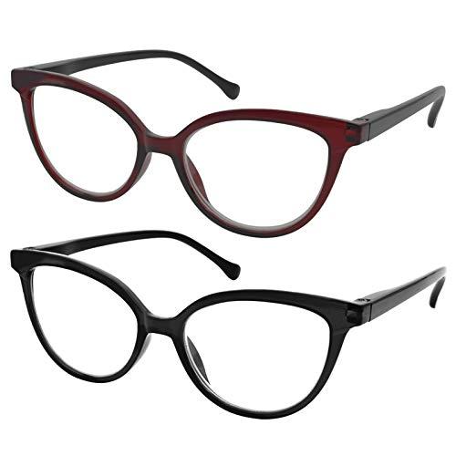 TBOC Gafas de Lectura Presbicia Vista Cansada - [Pack 2 Unidades] Graduadas +3.00 Dioptrías Montura de Pasta [Burdeos + Negra] de Diseño Moda Mujer Lentes de Aumento Leer Ver de Cerca Bisagra