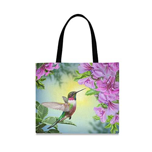 DOSHINE Tragetasche aus Segeltuch, Frühlingsblume, Kolibri, wiederverwendbar, Einkaufstasche, Schulranzen, Handtasche für Damen, Mädchen