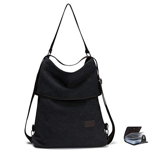 URAQT Canvas Tasche Damen Rucksack Handtasche Damen Umhängentasche Schultertasche Tasche für Alltag Büro Schule Ausflug Einkauf - Schwarz