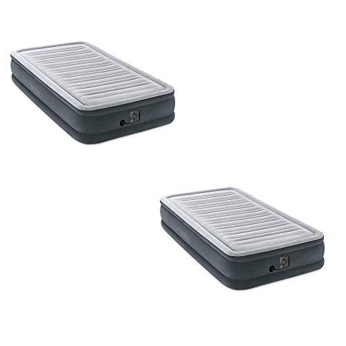 Intex Comfort Plush Dura Beam Plus Series Mid Rise Airbed w  Pump, Twin (2 Pack)
