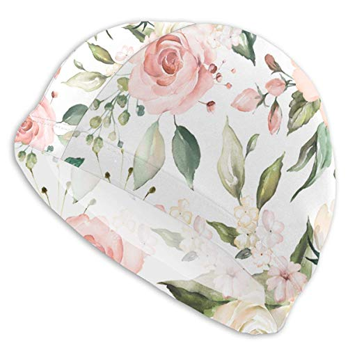 huatongxin Watercolor Pink Peonies Pink and White Roses and Greenery Not Easily Deformed Adult Schwimmkappe High Elasticity Lycra Schwimmhaube for Unisex