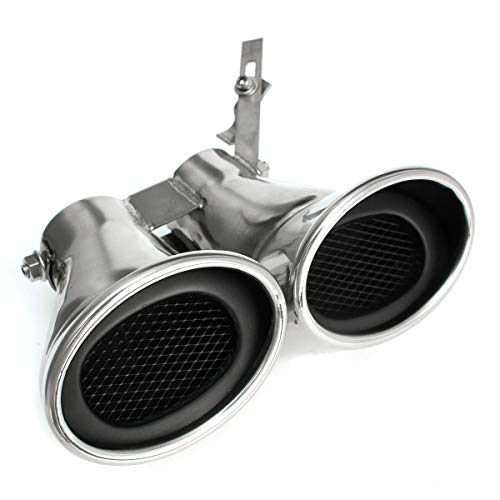 SODMLZ Tubo de silenciador de Escape Doble de Acero Inoxidable con Revestimiento de Garganta Trasera para Coche, para Mercedes-Benz-AMG Clase C W203 C240 C320