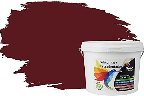 RyFo Colors Silikonharz Fassadenfarbe Lotuseffekt Trend Weinrot 3l - bunte Fassadenfarbe, weitere Rot Farbtöne und Größen erhältlich, Deckkraft Klasse 1