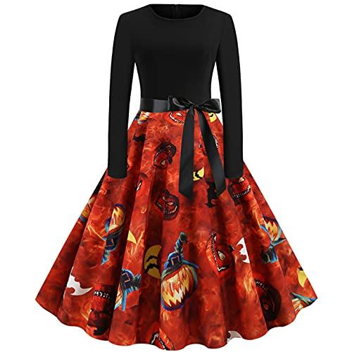 Vestido de noche para mujer, sexy, manga larga, cuello redondo, Halloween, calabaza, falda, fiesta, club, cóctel, verano, costuras, retro, vestido Swing Midi, naranja, S