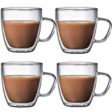 Tazza Caffe Termica Bicchieri Caffè Oficina y cumpleaños Personal para Regalos de Bienvenida de Bebidas Calientes y frías 250ml,4cups