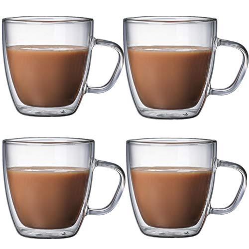 Cappuccino Tassen ThermogläSer Doppelwandige Becher Kaffee Glas Latte Becher Isolierte Wärme Beständig Trinkgläser Für Kaffee, Tee, Cappuccino 250ml,4cups