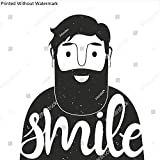 KwikMedia Poster of Inspiration Positive Illustration with Cute Smiley face Bearded Man. Smile. Trendy Hipster Style Greeting Card Design, t-Shirt Print, Typography Poster.