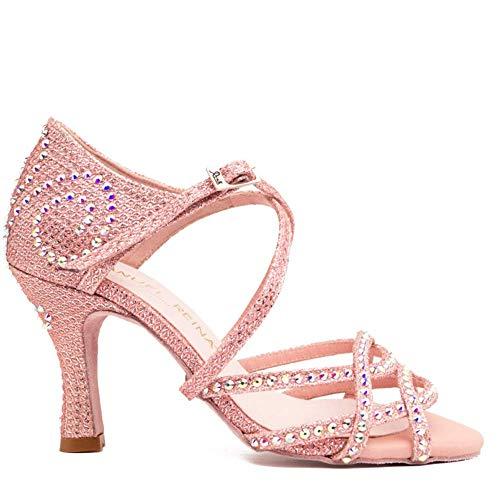 Manuel Reina - Zapatos de Baile Latino Mujer Salsa Competition 01 Rose Pearl - Bailar Bachata, Salsa, Kizomba (38 EU, Tacón: 7.5)